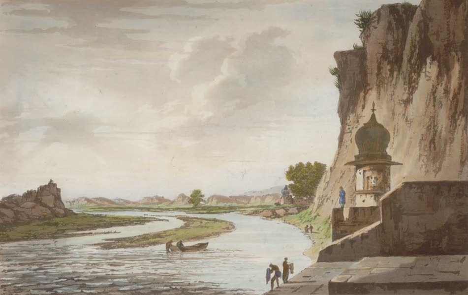 Select Views in India - A View of the Gaut at Etawa on the banks of the River Jumna (1797)