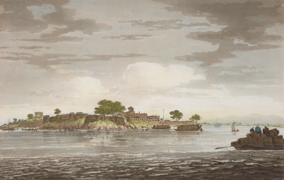 Select Views in India - A View of the Fort of Mongheer, upon the banks of the River Ganges (1797)