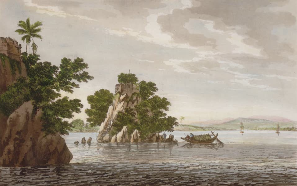 Select Views in India - A View of an Insulated Rock, in the River Ganges at Jangerah (1797)
