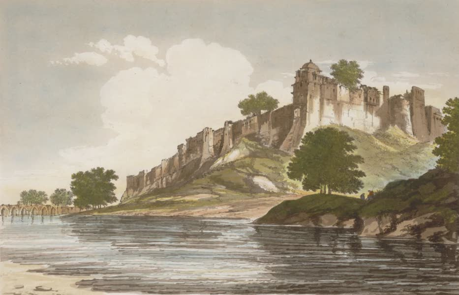 Select Views in India - A View of the Fort of Jionpoor upon the banks of the River Goomty (1797)