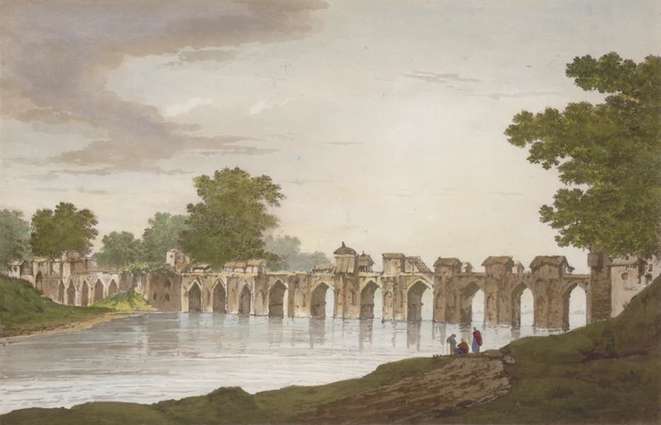 Select Views in India - A View of the bridge at Jionpoor over the River Goomty (1797)