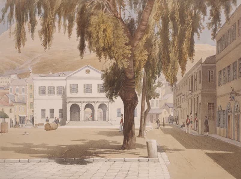 Select Views of the Rock and Fortress of Gibraltar - The Commercial Square, Commercial Library, and the Main Guard (1846)