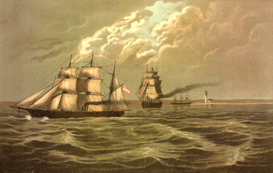 Service Afloat - The Sumter running the blockade of Pass al Outre by the enemy's ship (1887)