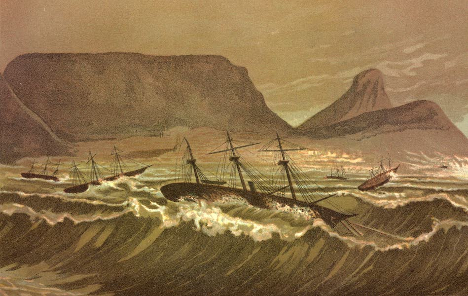 Service Afloat - The Alabama in a gale at Cape Town (1887)