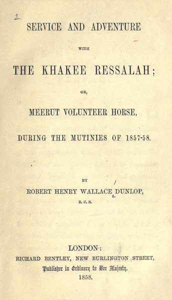 Service and Adventure with the Khakee Ressalah - Title Page (1858)