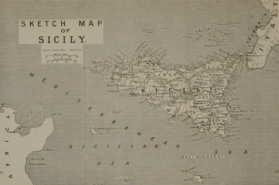 Sicily, Painted and Described - Sketch Map of Sicily (1911)