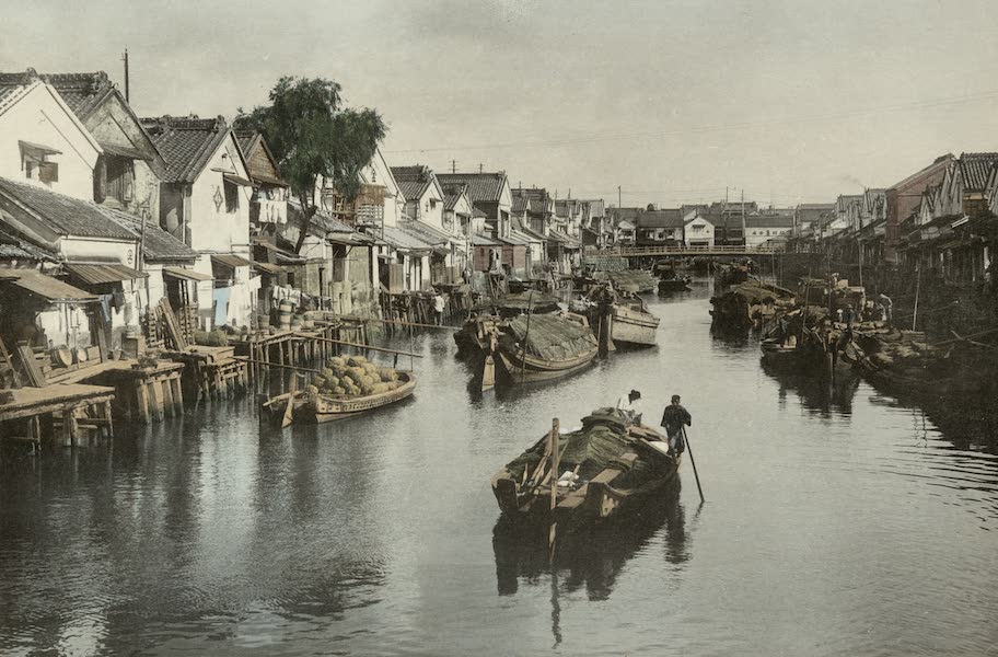 Sights and Scenes in Fair Japan - Canal and Barges in Tokyo (1910)