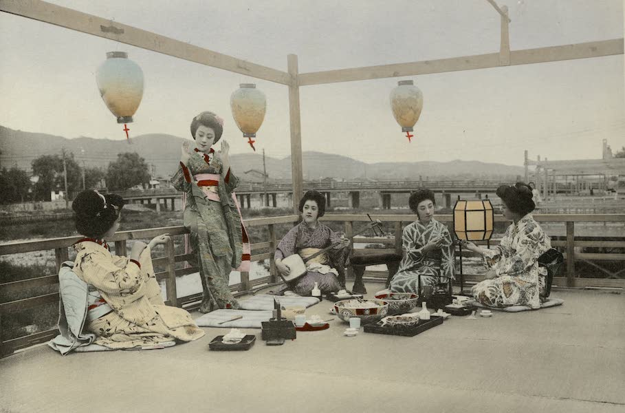 Sights and Scenes in Fair Japan - Enjoying the Cool of a Summer Evening on the Kamogawa in Kyoto (1910)