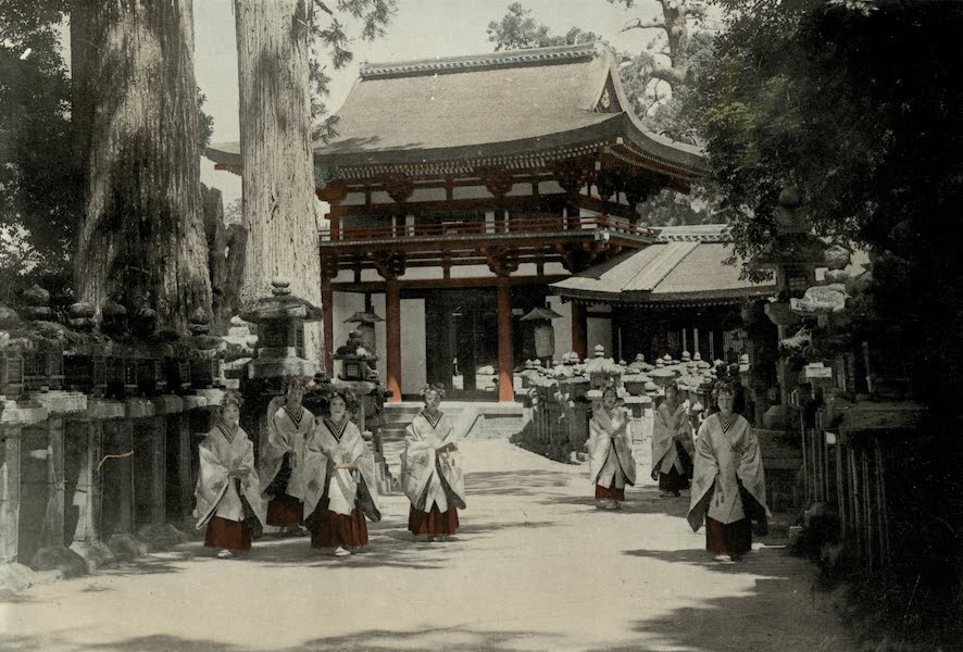 Sights and Scenes in Fair Japan - Entrance to the Kasuga Shrine at Nara and Group of Consecrated Maidens (1910)