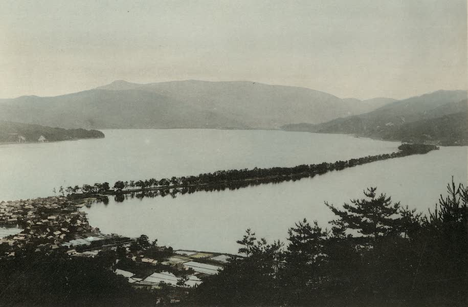 Sights and Scenes in Fair Japan - Ama no Hashidate - A Slender Bridge-Like Peninsula Bordered with Pines (1910)