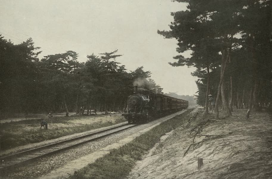 Sights and Scenes in Fair Japan - Chiyo no Matsubara - A Celebrated Pine Grove in Kyushu with a Passing Train (1910)