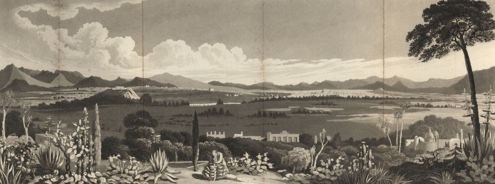 Six Months Residence and Travels in Mexico - View of the City and Valley of Mexico from Tacubaya (1824)