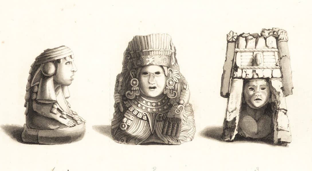 Six Months Residence and Travels in Mexico - Ancient Mexican Sculpture - Plate I (1824)