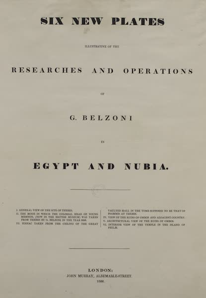 Six New Plates Illustrative of the Researches and Operations - Title Page (1822)