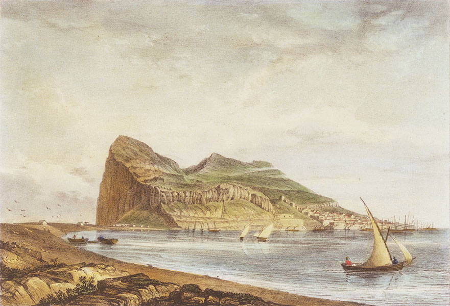 Six Views of Gibraltar - Gibraltar. From the ruins of Fort St Philip (1828)