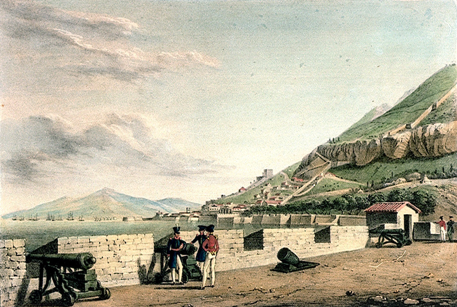 Six Views of Gibraltar - Gibraltar. From the New Mole Fort looking North (1828)