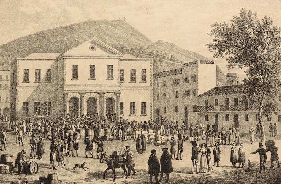 Six Views of Gibraltar and its Neighbourhood - Auction Square at Gibraltar (1825)
