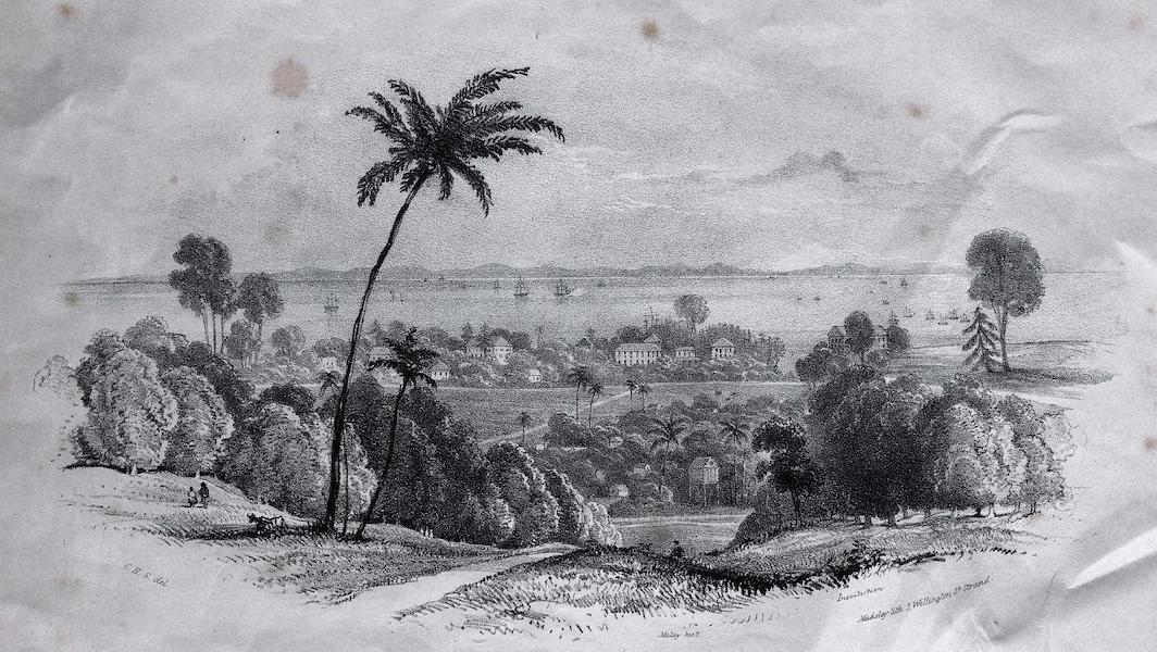 Six Views of Singapore and Macao - Singapore Roads with the English Residences, Institutions, &c. (1840)