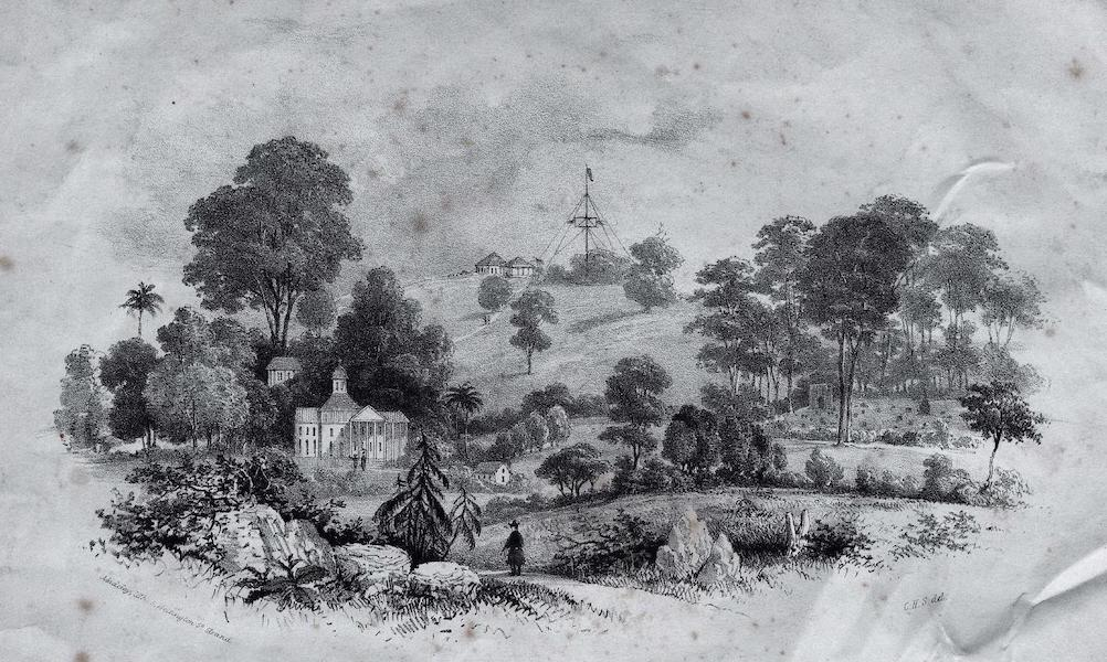 Six Views of Singapore and Macao - Singapore - View of Government Hill, the English Burial Ground and the Armenian Church (1840)