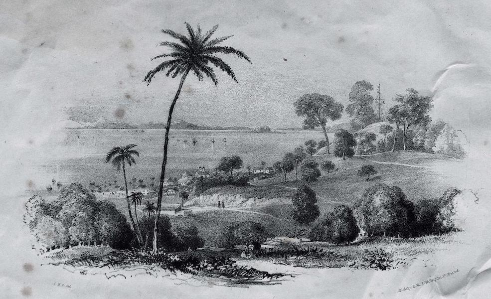 Six Views of Singapore and Macao - Singapore - View of a Part of Campong-Clam, the Court House and Government Hill (Taken from Princeps Hill)  (1840)