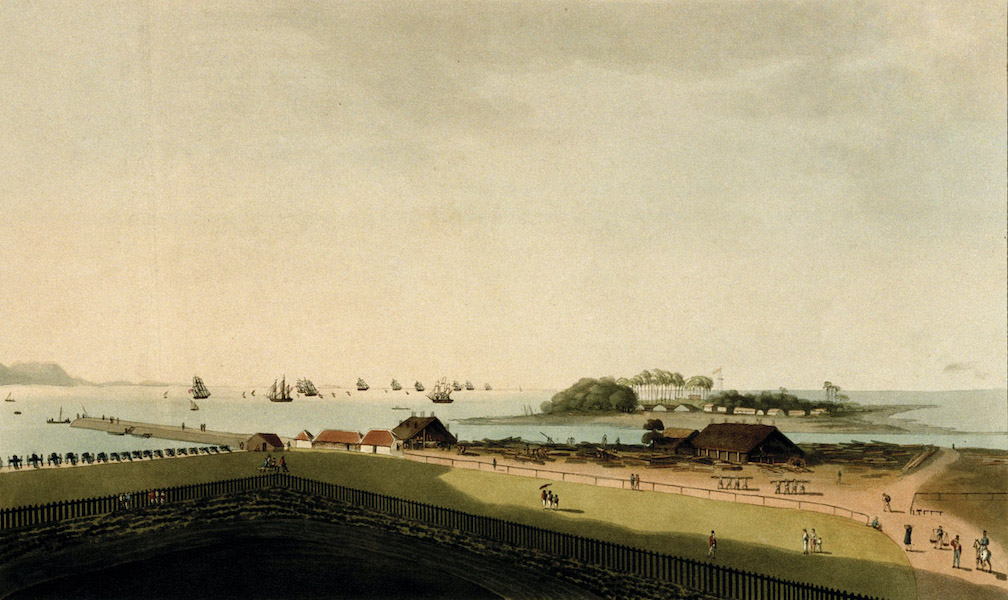The fleet under convoy of H.M. Ship Chiffone, Capt Wainwright, leaving Bombay. Septr 14, 1809. From the Apollo Gate