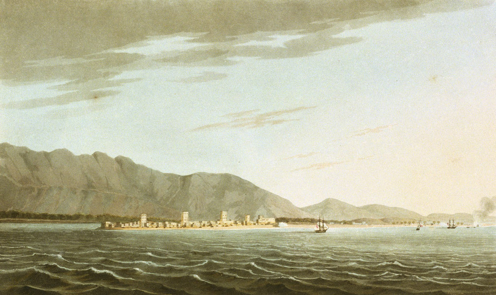 Sixteen Views of Places in the Persian Gulph - Rus ul Khyma, with the attack of the H.C.'s Cruisers on the Evening of the 11th Novr 1809 (1813)