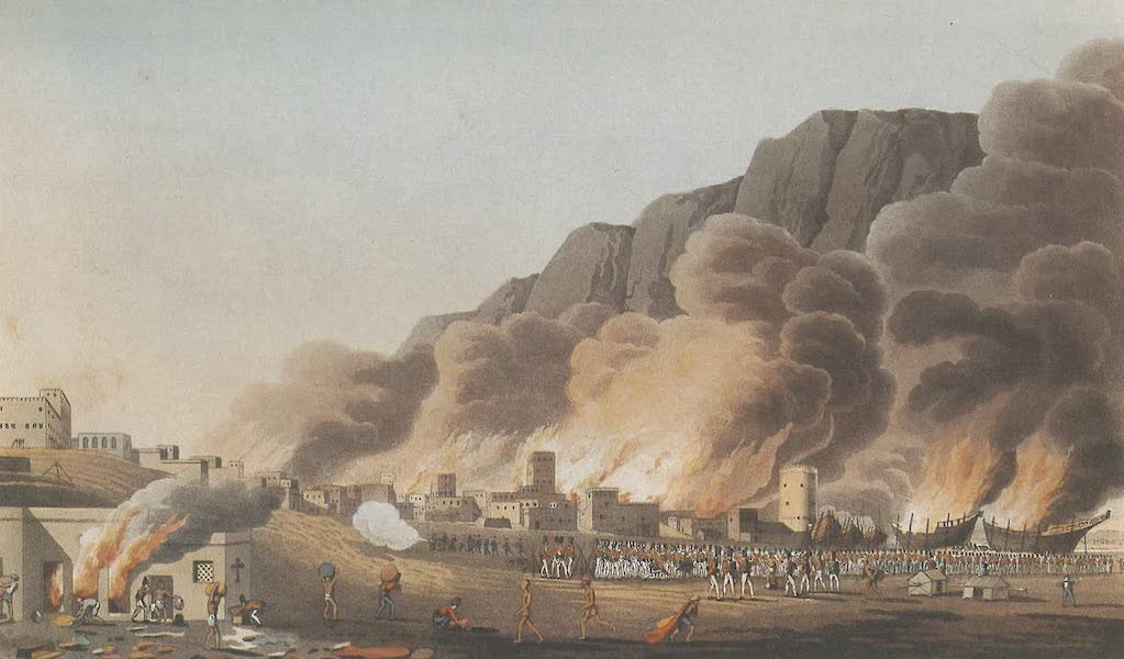 Sixteen Views of Places in the Persian Gulph - The troops landing at Rus ul Khyma at sun-rise, 13th Novr 1809 (1813)
