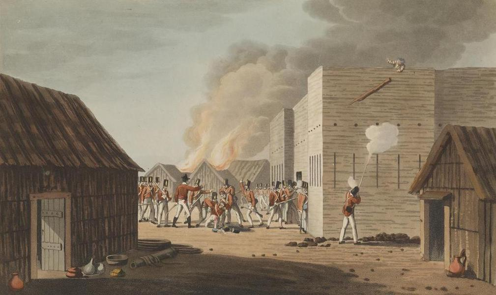 Sixteen Views of Places in the Persian Gulph - The storming of a large storehouse near Rus ul Khyma, where Captn Dancey of H.M. 65th Regt was killed. Novr 13th 1809 (1813)