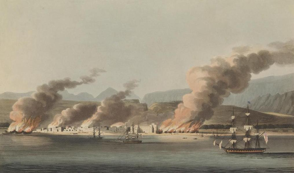 A view of the Linga or Lung, from the sea during the destruction of the Dow's &c Novr 16th 1809