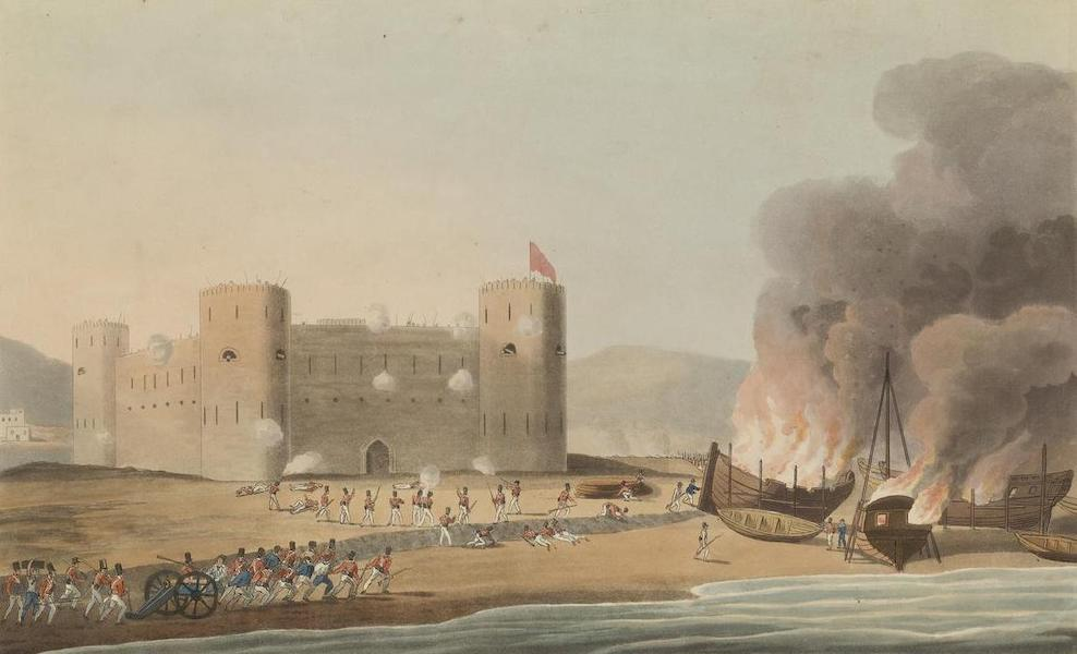 Sixteen Views of Places in the Persian Gulph - The attack on the Fort of Luft. Novr 27th 1809 (1813)