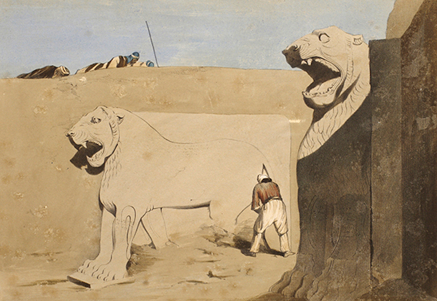 Sketches Between the Persian Gulf and Black Sea - Sculptures at Nimroud - Lions (1852)
