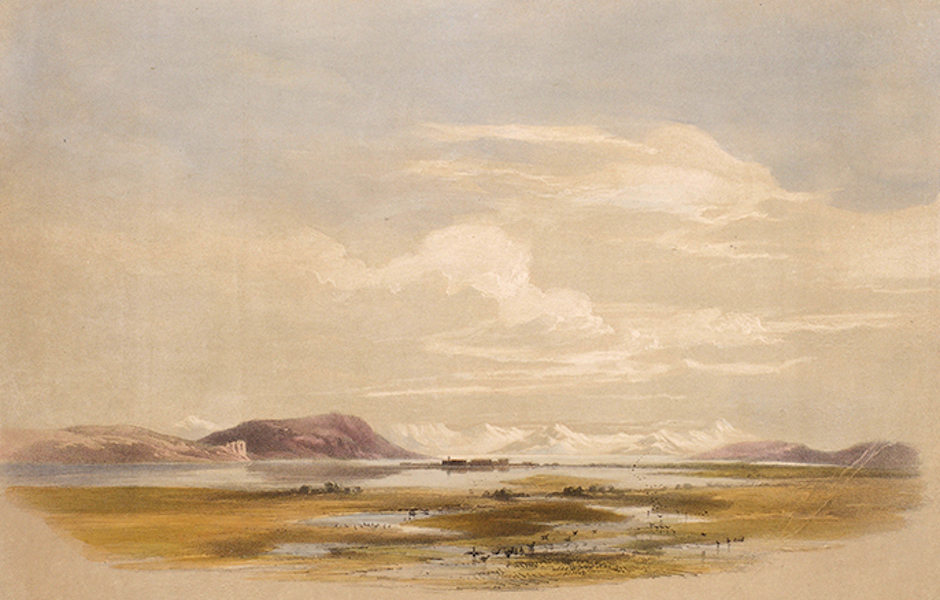 Sketches Between the Persian Gulf and Black Sea - Lake Van & Town of Ardische (1852)