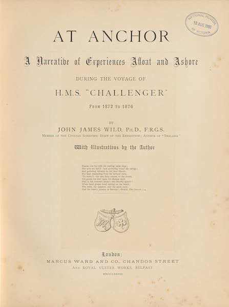 Sketches From Many Shores Visited by H.M.S. Challenger - Title Page (1878)
