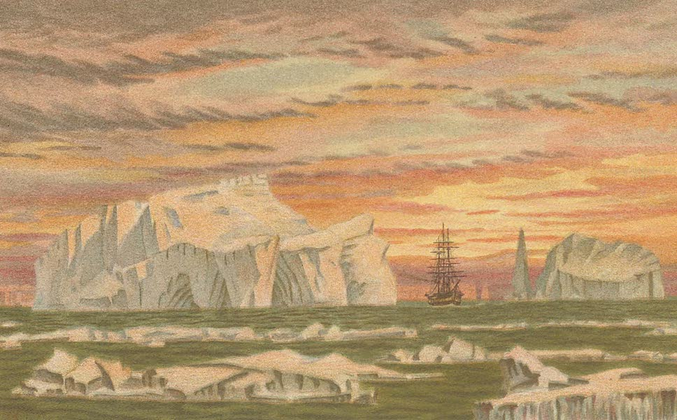 """Sketches From Many Shores Visited by H.M.S. Challenger - H.M.S. """"Challenger"""" Among the Icebergs of the Antarctic (1878)"""