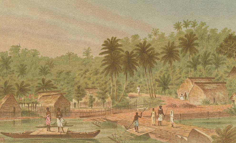 Sketches From Many Shores Visited by H.M.S. Challenger - Village of Ngaloa, Kandavu Island, Fiji Islands (1878)