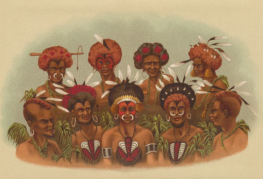Sketches From Many Shores Visited by H.M.S. Challenger - Natives of Humboldt Bay, Papua (1878)