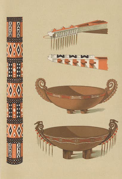 Specimens of Wood-Carving from the Admiralty Islands - Carved Doorpost, Wooden Bowls, Bows of Canoes