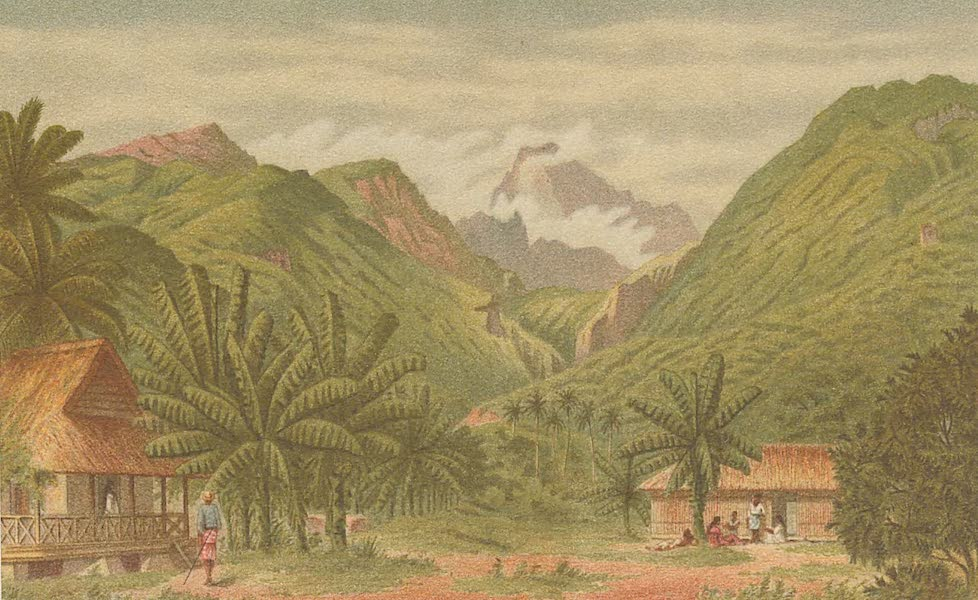 Sketches From Many Shores Visited by H.M.S. Challenger - Valley on the West Coast of Tahiti, between Papeete and Papeuriri (1878)