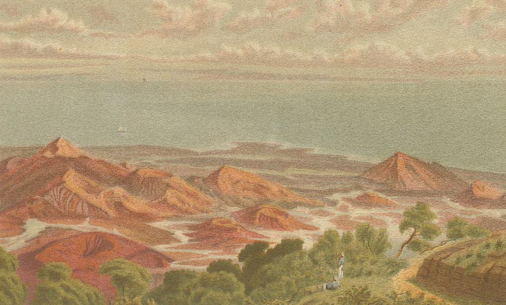 Sketches From Many Shores Visited by H.M.S. Challenger - The Extinct Volcanos on Ascension Island, seen from Green Mountain (1878)