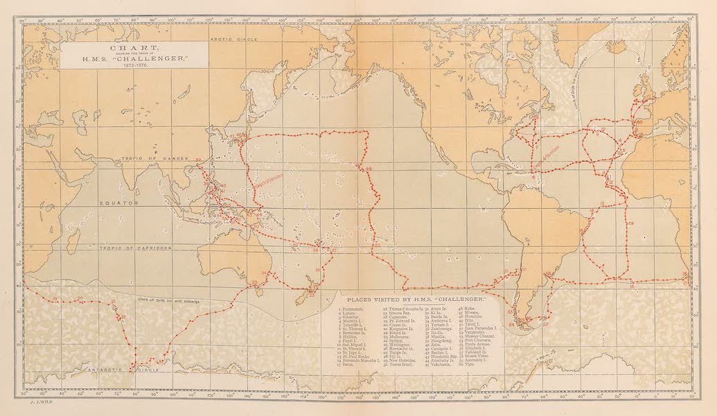 """Sketches From Many Shores Visited by H.M.S. Challenger - Chart Showing the Track of H.M.S. """"Challenger"""" (1872-1876) (1878)"""