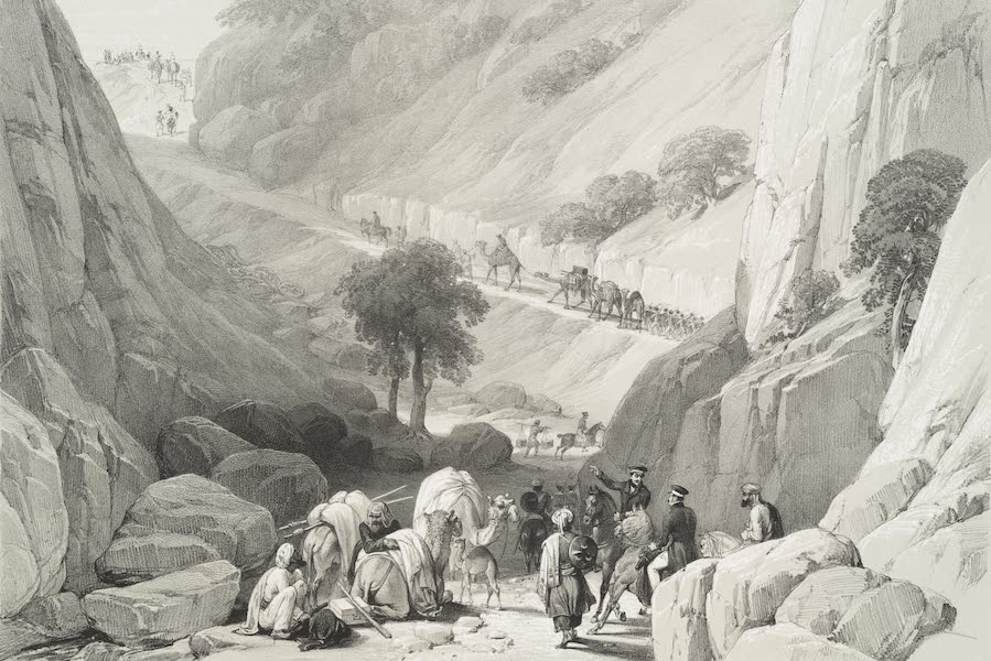 Sketches in Afghaunistan - The troops emerging from the narrow part of the defile [in the Koojah Pass] (1842)