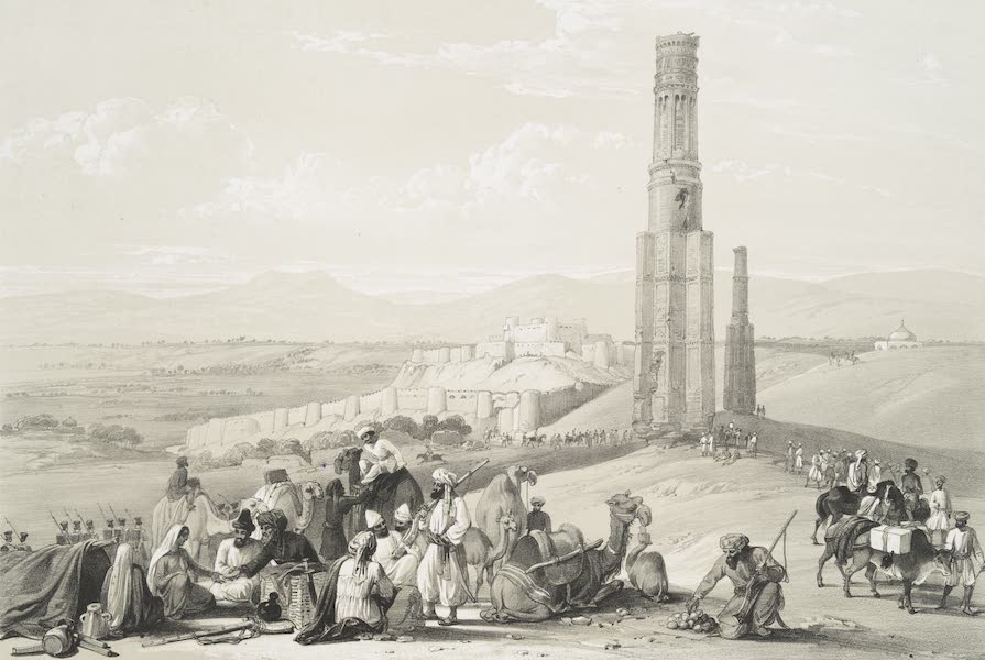 Sketches in Afghaunistan - The fortress and citadal of Ghuznee and the two minars (1842)