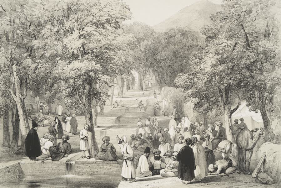 Sketches in Afghaunistan - The avenue at Baber's tomb (1842)