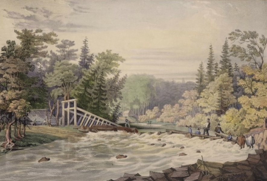 Sketches in New Brunswick - Erecting the Mill-Dam at Stanley (1836)