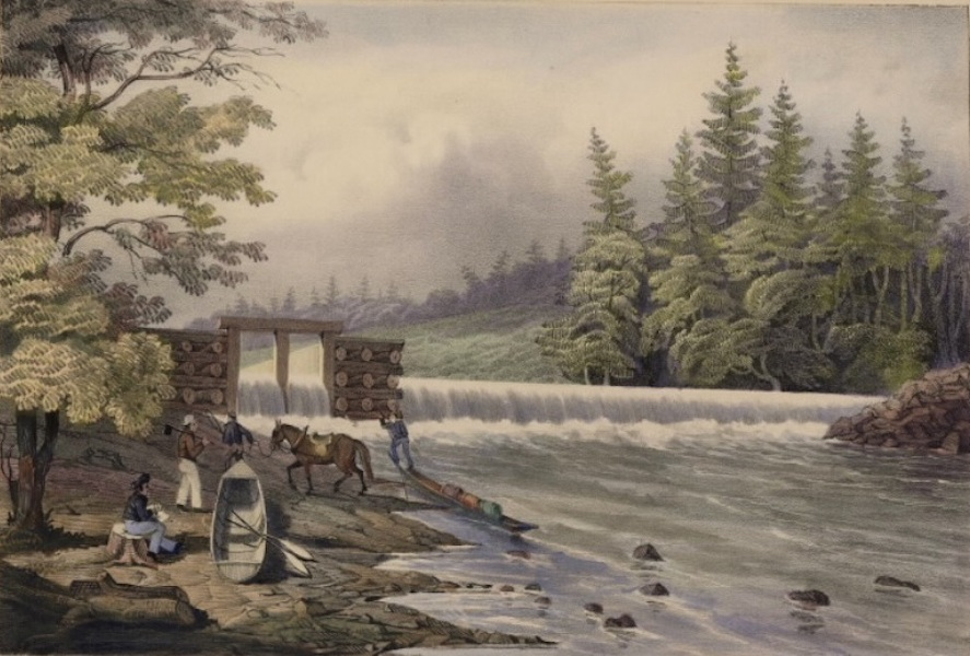 Sketches in New Brunswick - The Mill-Dam at Stanley (1836)