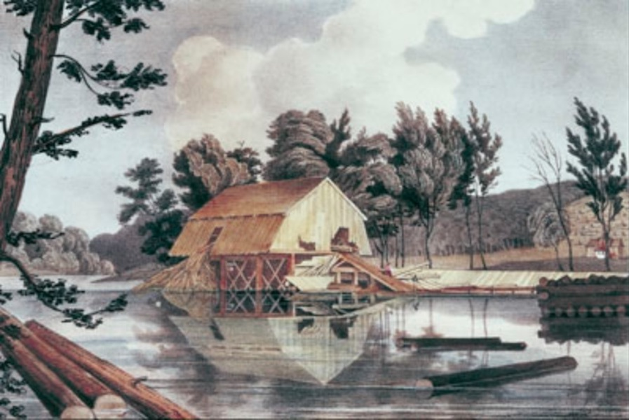 Sketches in New Brunswick - The Saw-Mill Completed, and in Operation, Taken From the Mill-Pond, Above the Dam (1836)
