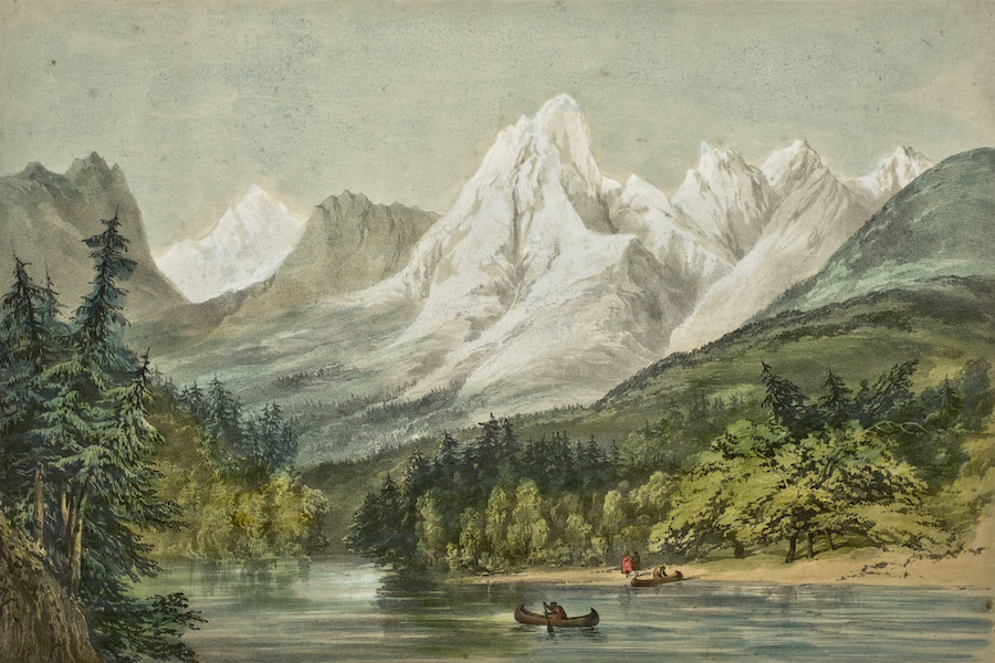Sketches in North America and the Oregon Territory - The Rocky Mountains From the Columbia River Looking N.W. (1848)
