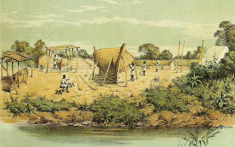 Sketches of African Scenery - C.M.S Camp and Building Yard, Bukindo, Ukerewe (1878)