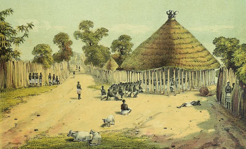 Sketches of African Scenery - Court House and Entrance to King's Palace, Bukindo (1878)