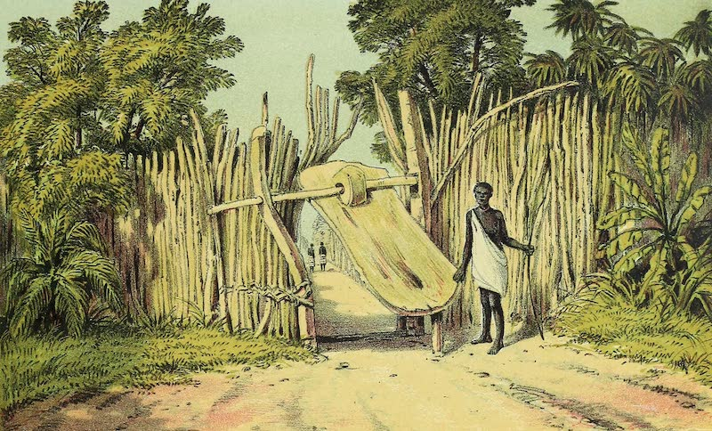 Sketches of African Scenery - Entrance Gate to Bukindo, Island of Ukerewe (1878)